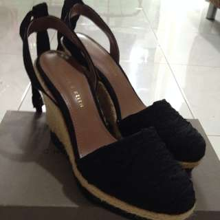Charles & Keith Black Wedges Covered Ankle Strap