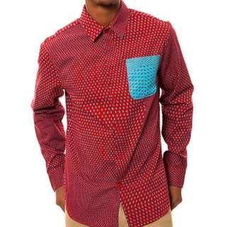 Altamont Polka Dot LS Buttondown Shirt in Red