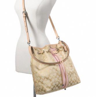 9caa204672 Coach Signature Stripe Drawstring Shoulder Bag