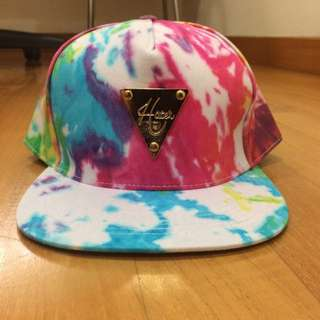 rainbow tie dye inspired snapback