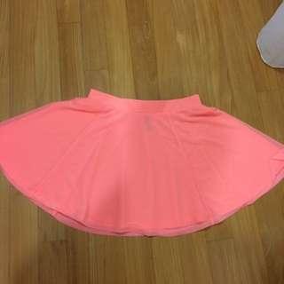 bright orange skater skirt H&m