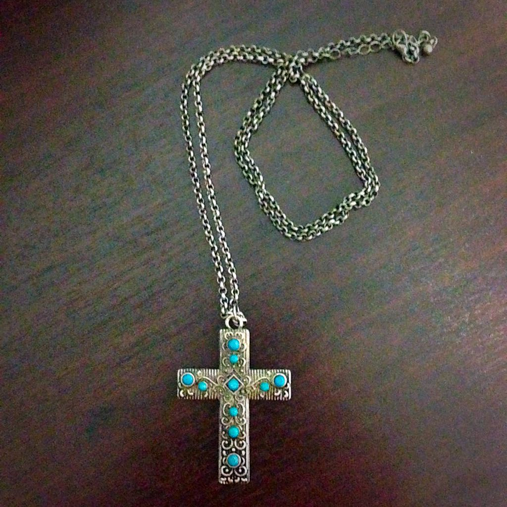 Forever21 turquoise cross necklace womens fashion on carousell photo photo photo aloadofball