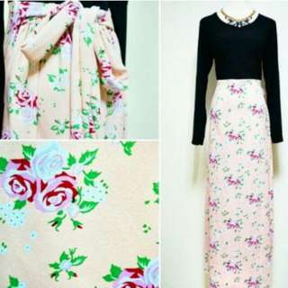Half Floral Maxi Dress