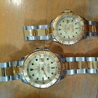 A Pair Of Rare Bulova Half Gold Auto Watch