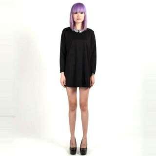 Gem Jewel Embellished Collar Long Sleeve Black Dress
