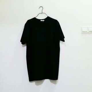 Basic Black Oversized Lazy Tunic Jersey Dress