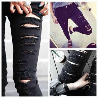 💖⚡️FLASH SALE!! INSTOCKS!! Ripped Leggings in Jet Black
