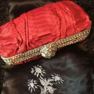 Clara Kasavina Red Python Evening Clutch, Bought $2500 , Lightly Used, Now $800 Nett, No Trade