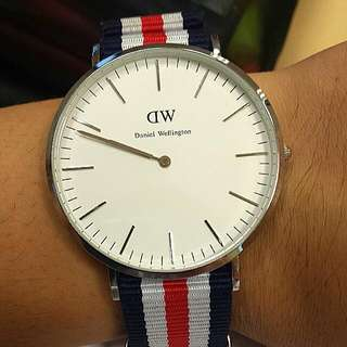 Daniel Wellington 40mm Sliver Face Watch With Nato Strap