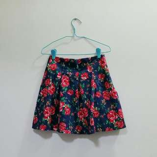 *Fly Me To Paris Navy Blue Floral Skirt