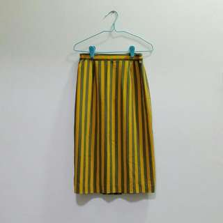 Vintage Mustard Grey Vertical Stripe Midi Skirt
