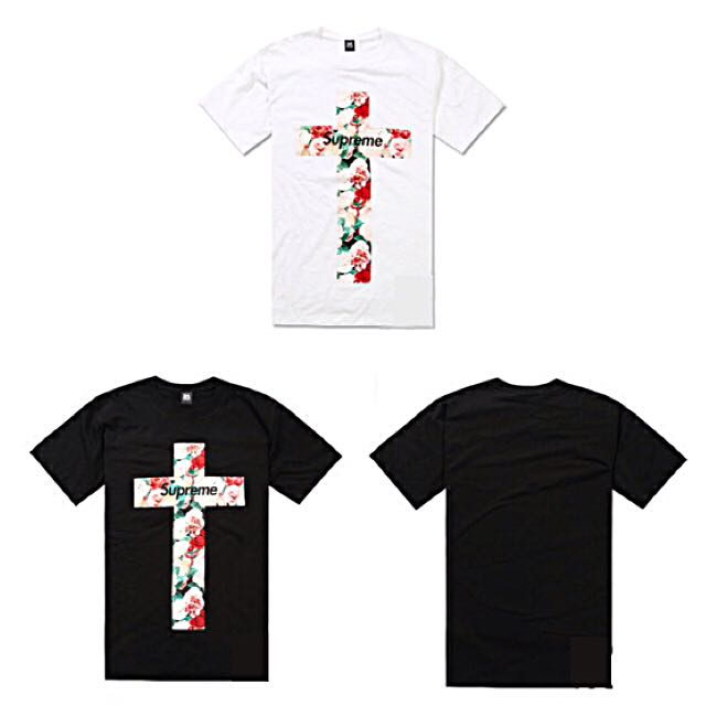 a29172042522 Supreme Floral-Cross T-Shirt, Men's Fashion on Carousell