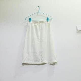 Basic Cream Cotton Knee Length Midi Skirt