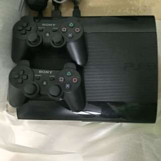 PS3 Super Slim 320GB w/ 2 Original Dual shock 3 Controllers
