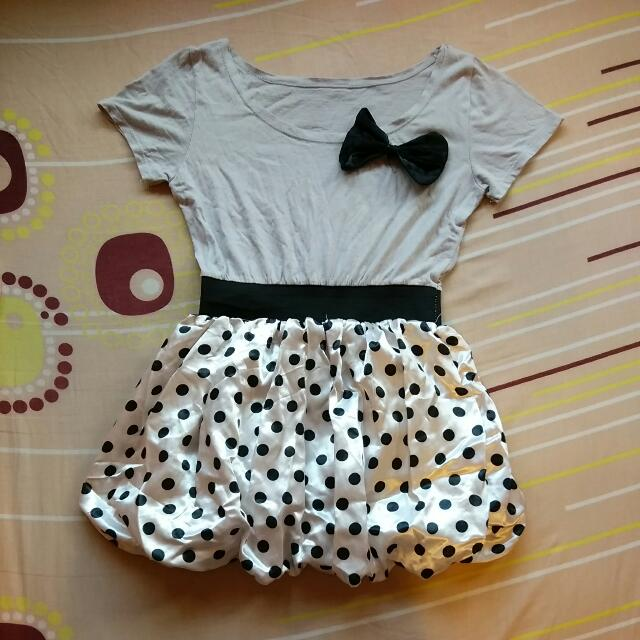 Black and Grey Polka Dot Pom Pom Dress