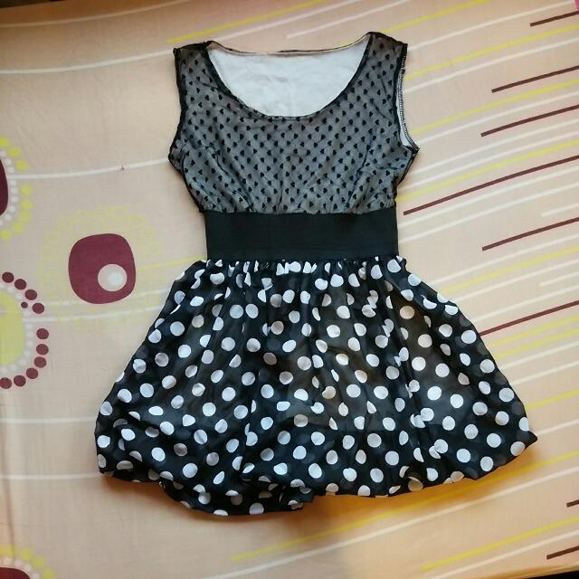 Hearts Lace Polka dot Pom Pom Dress