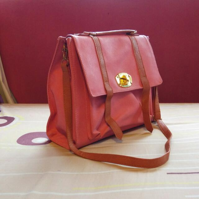 Pink and Brown Candy Sling Satchel Bag REDUCED
