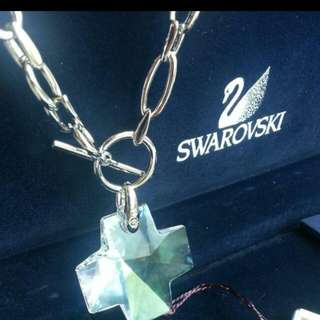 <Price DROP> Swarovski Crystal Authentic Chunky Cross Chain Link Necklace Brand New