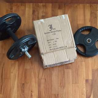 Dumb Bell w 6 X 5kg Rubberized weights Plate