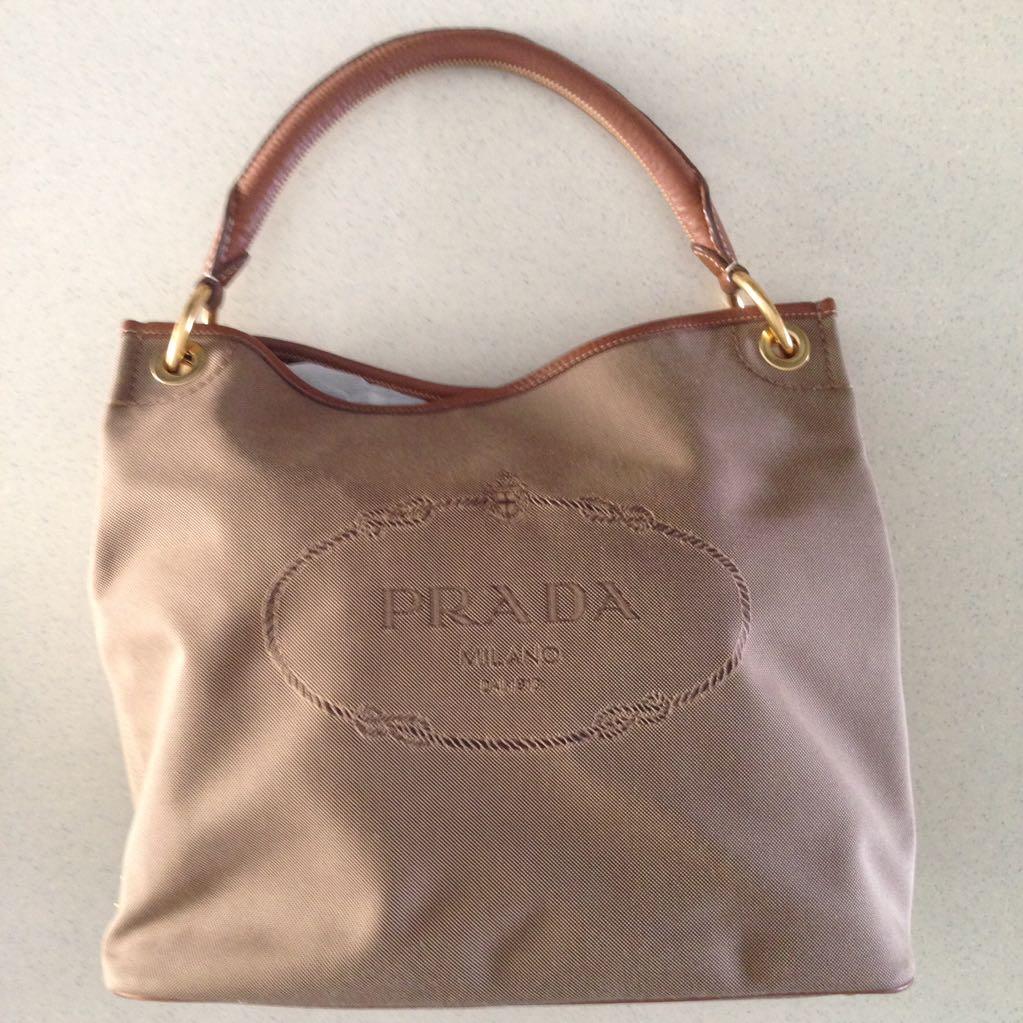 fb0b500516c Brand New Authentic Prada Logo Jacquard Canvas Tote bag, Luxury on ...