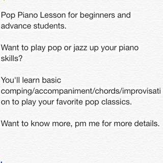 Pop/Jazz Improvisation Piano Lesson