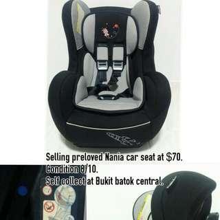 Selling Preloved Nania Car Seat $70