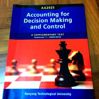 AA202s Accounting For Decision Making And Control