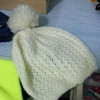 COTTON ON White Knitted Fluffy Beanie