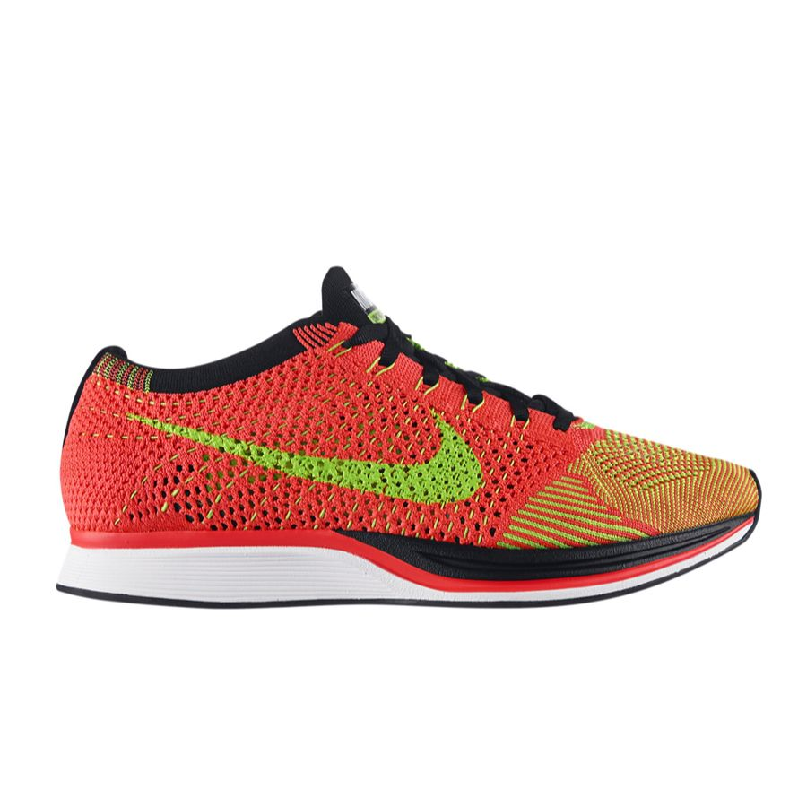 407cb48619889 Authentic Nike Flyknit Racer Hyper Punch Black Electric Green ...