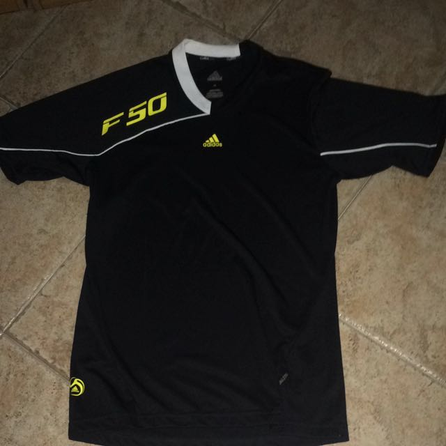 7f5e80f28d0 Adidas Black F50 Running Football Shirt, Sports, Sports Apparel on Carousell