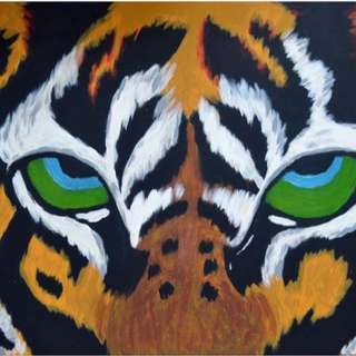 Tiger Acrylic Painting In A2 Stretched Canvas