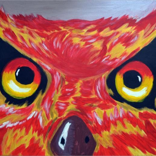 Owl Acrylic Painting In A2 Stretched Canvas