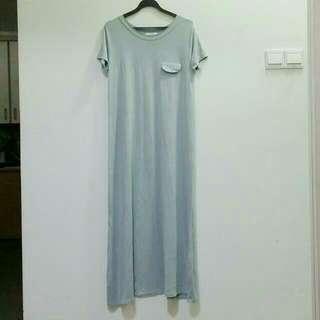 Hollyhoque Chill Basic Grey Straight Cut Maxi Dress - Pending