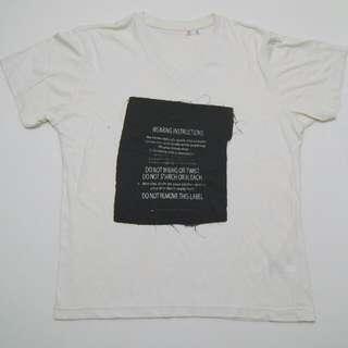 White Uniqlo V-Neck T-Shirt