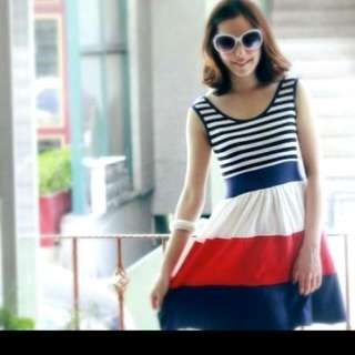 $5mailed (free Necklace) Stripes Dress In Green
