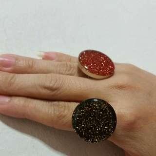 Golden Elegant beads Resin Handmade Ring