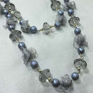 Silver Beaded Necklace With Lace & Pearl
