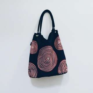 Handmade Embroided Navy Blue Tote Bag