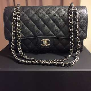 Chanel Classic Medium Double Flap Caviar In Nero With Silver Hardware
