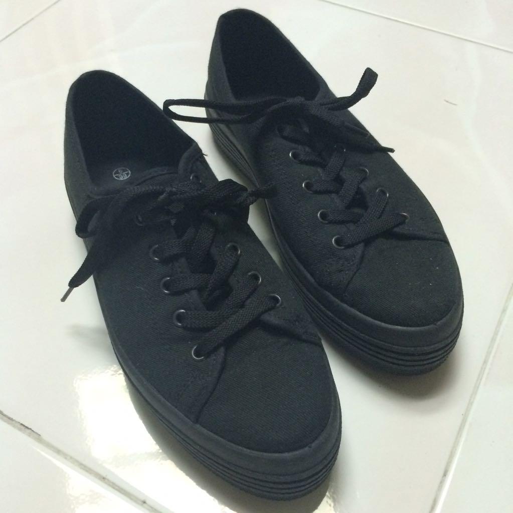 New Look Black Platform Sneakers, Women