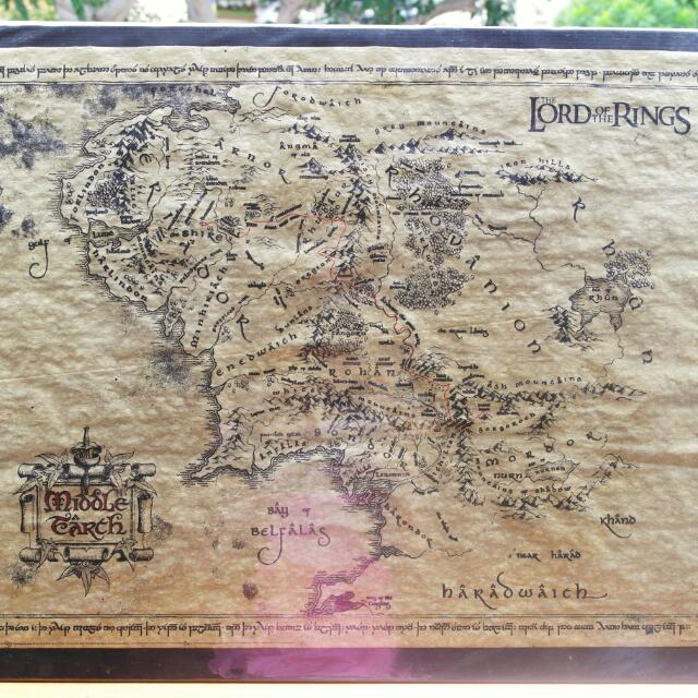LOTR - Vintage Parchment Map Of Middle Earth, Everything Else on ...