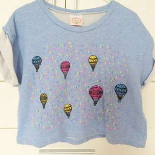Denim Hot Air Balloon Crop Top