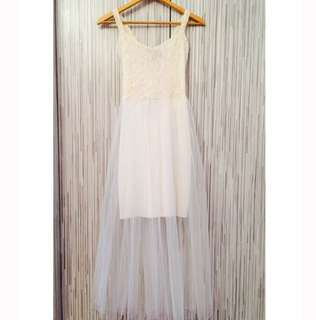 Cream Lace Tulle Outer Dress