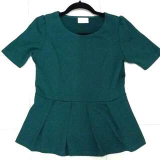 Patch Peplum Blouse in Green