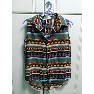 Sleeveless Chiffon Tribal Top