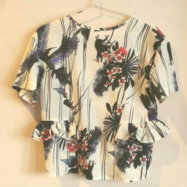 Tropical Floral Ruffle Top