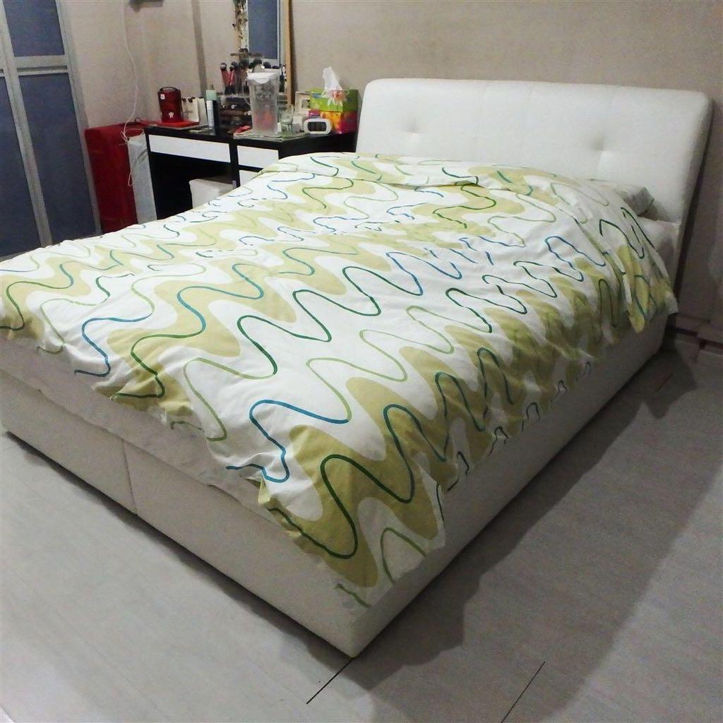 Storage Bed + Mattress (Queen Size)