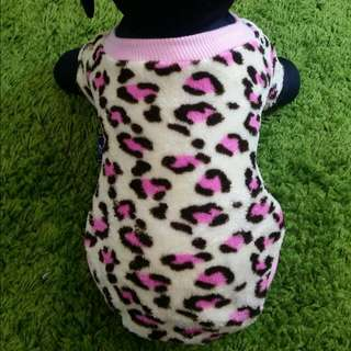 Pink Leopard Print Sweater For Dog Apparel