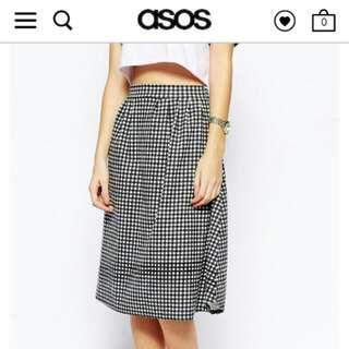 BN Asos Daisy Street Monochrome Midi Skater Skirt In Gingham Print - Pending