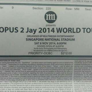 One Pair Of Jay Chou 2014 Concert Ticket